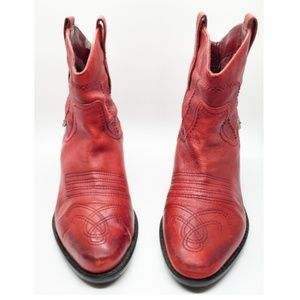 Franco Sarto Red Leather Western Boots